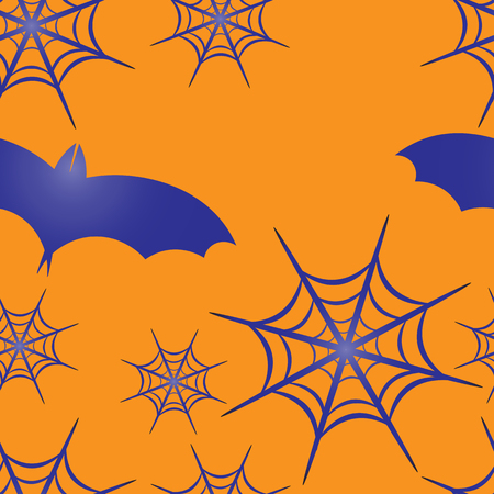 flying bats: Beautiful art creative colorful halloween holiday wallpaper vector illustration of many blue flying bats on orange joinless background