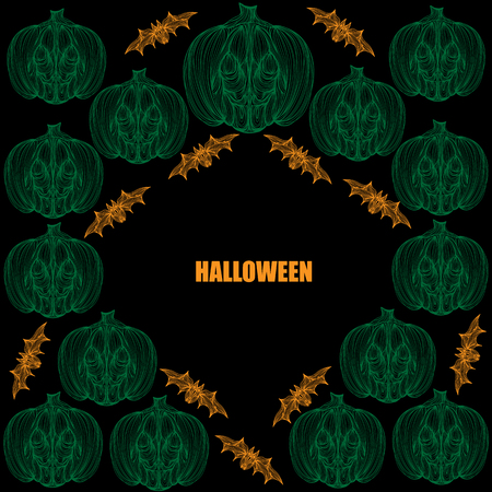 jointless: Beautiful art creative colorful halloween holiday wallpaper vector illustration cover of many green pumpkins and orange bats with text on black background Illustration