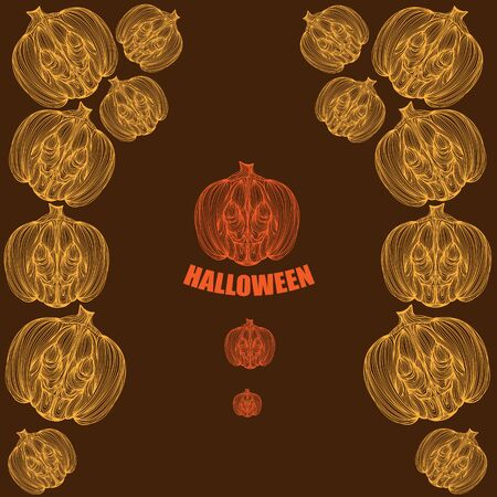 jointless: Beautiful art creative colorful halloween holiday wallpaper vector illustration cover of many orange and yellow pumpkins with text on brown background Illustration