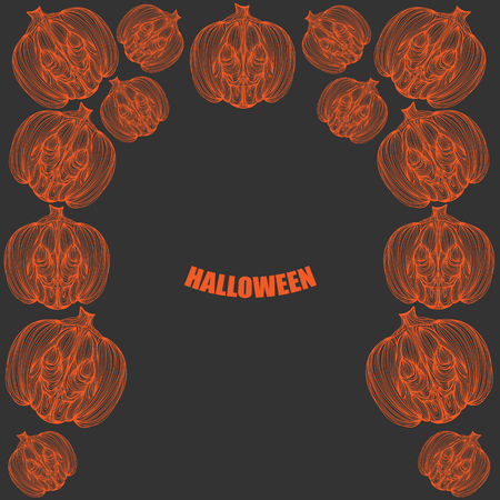 jointless: Beautiful art creative colorful halloween holiday wallpaper vector illustration cover of many orange pumpkins with text on grey background