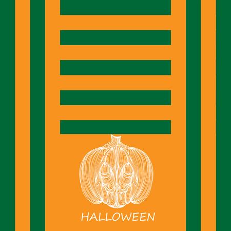 jointless: Beautiful art creative colorful halloween holiday wallpaper vector illustration cover of one white pumpkin with text on orange and green striped background Illustration