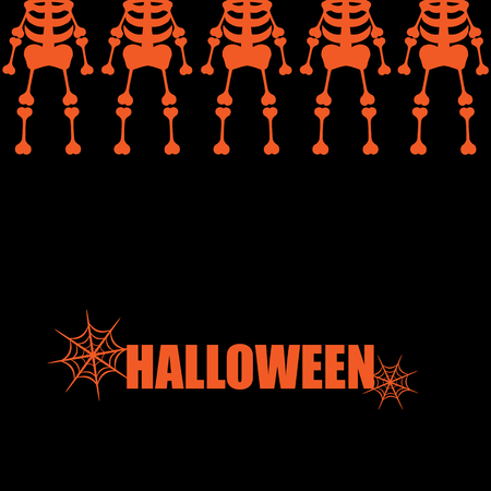 spider web: Beautiful art creative colorful halloween holiday wallpaper vector illustration cover of many orange human skeletons in upper row with text and spider web on black background Illustration