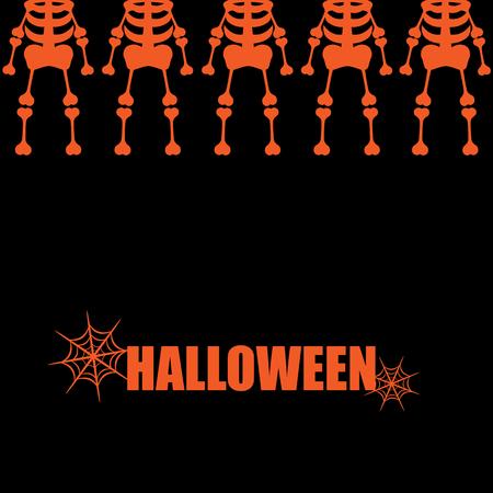 scheletro umano: Bella arte creativa colorati halloween sfondo illustrazione vettoriale copertina di molti scheletri umani arancione in riga superiore con testo e ragnatela su sfondo nero