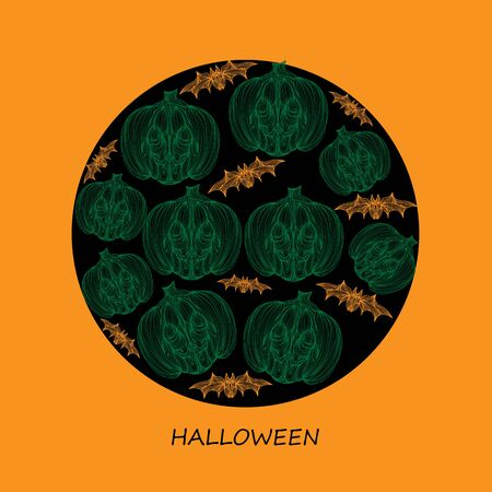 jointless: Beautiful art creative colorful halloween holiday wallpaper vector illustration cover of many green pumpkins and bats with text on black hole of orange background