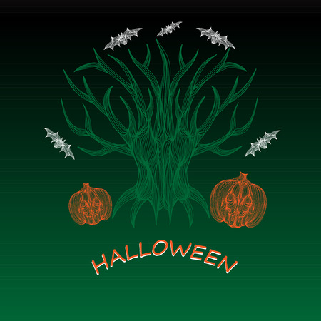 jointless: Beautiful art creative colorful halloween holiday wallpaper vector illustration cover of many orange pumpkins green tree and white bats with text on black background
