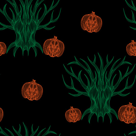 jointless: Beautiful art creative colorful halloween holiday wallpaper vector illustration of many orange pumpkins and green trees on black seamless background