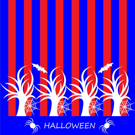 flying bats: Beautiful art creative colorful halloween holiday wallpaper vector illustration cover of many white trees flying bats and spiders with text on red and blue striped background