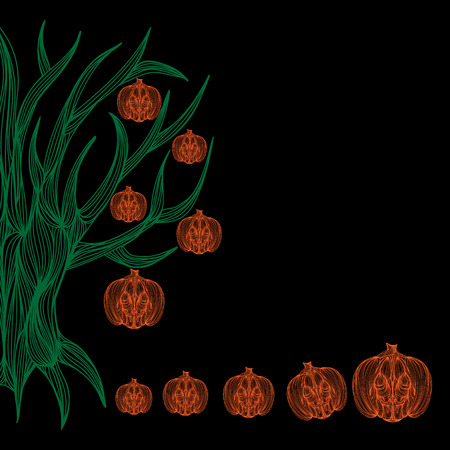 jointless: Beautiful art creative colorful halloween holiday wallpaper vector illustration of many orange pumpkins and green trees on black background, copy space