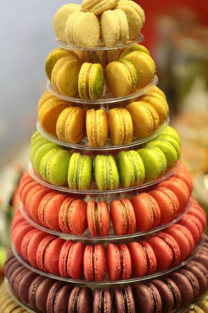 Closeup assortment of lots of multicolored tasty french macarons on tier circle cake tower display stand pyramid-shaped made of clear plastic on many visible levels over blur background, vertical picture