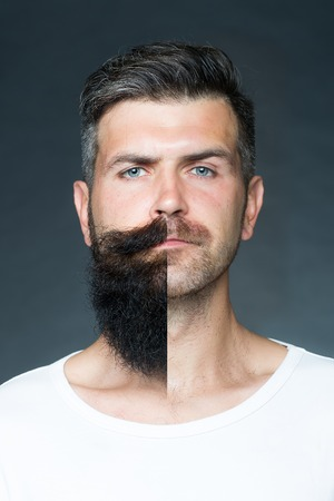 unshaved: Closeup portrait of one handsome man with different sides of face on left long unshaved beard with moustache on right  bristle haired looking forward on grey background, vertical picture Stock Photo