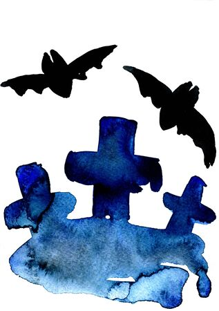 sullen: Art freehand watercolor sketch outline illustration of three black halloween holiday crosses with scary flying bat cloud moon on graveyard on blue background, vertical picture