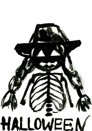 Art freehand watercolor sketch outline illustration of one human female scull black color as halloween holiday symbol with scary face in hat with plait on white background, vertical picture