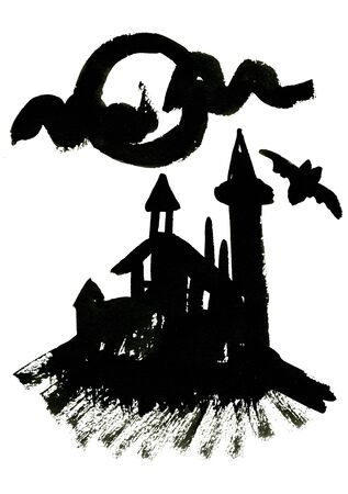 holiday picture: Art freehand watercolor sketch outline illustration of one black halloween holiday symbol object of palace with flying bat on white background, square picture