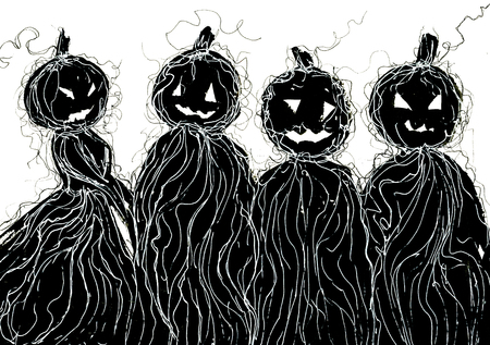 holiday picture: Art freehand pencil sketch outline illustration of four black color as halloween holiday symbol with scary face of pumpkin on white background, horizontal picture Stock Photo