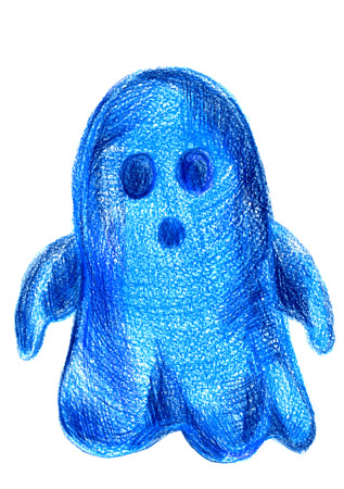 cucurbit: Art freehand pencil sketch outline illustration of one ghost black blue color as halloween holiday symbol with scary face on white background, vertical picture