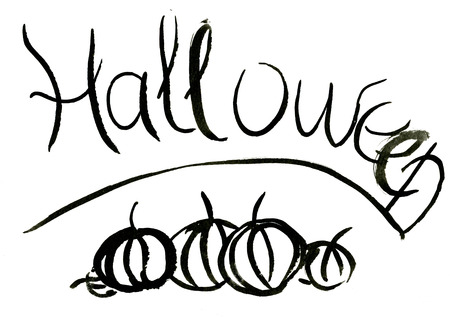abstract art vegetables: Abstract closeup isolated hand-written Halloween lettering watercolour aquarelle hand drawn wash drawing arty pumpkins black colors on white background, vertical picture Stock Photo