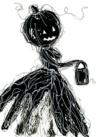 cucurbit: Art freehand pencil sketch outline illustration of one black color as halloween holiday symbol with scary female face of pumpkin with lamp on white background, vertical picture