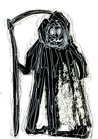 Abstract art closeup creative watercolour wash drawing aquarelle hand drawn of wicked Grim Reaper wearing black mackintosh black and white colors on white background, vertical picture