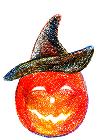cucurbit: Art freehand pencil sketch outline illustration of one red and orange with hat halloween holiday pumpkin with scary face on white background, vertical picture