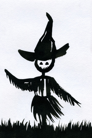 holiday picture: Art freehand watercolor sketch outline illustration of one scarecrow black color as halloween holiday symbol with scary face in hat with grass on white background, vertical picture