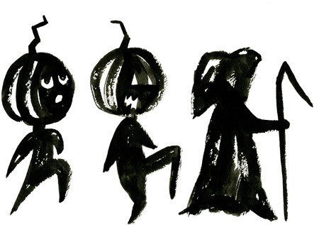 holiday picture: Art freehand watercolor sketch outline illustration of three black color as halloween holiday symbol with scary face of death on white background, horizontal picture Stock Photo