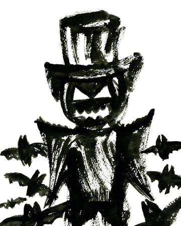 cucurbit: Art freehand watercolor sketch outline illustration of one black color halloween holiday symbol with scary face in hat with flying bats on white background, vertical picture