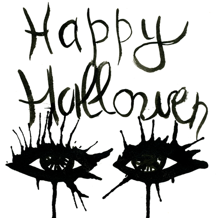 arty: Abstract closeup isolated hand-written Happy Halloween lettering watercolour aquarelle hand drawn wash drawing arty eyes black colors on white background, vertical picture