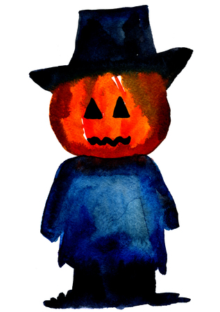 cucurbit: Art freehand watercolor sketch outline illustration of one scarecrow black blue and orange colors as halloween holiday symbol with scary face in hat on white background, vertical picture