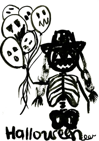 Art freehand watercolor sketch outline illustration of one human scull black color as halloween holiday symbol with scary face in hat with plait holding balloons on white background, vertical picture Stock Photo