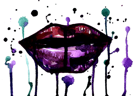 sensual: Isolated closeup beautiful artistic watercolor aquarelle painting rough draft and hand drawn sensual dark magenta plush lips with splatters over white field watercolour background, horizontal picture Stock Photo