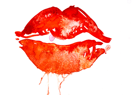 rough draft: Isolated closeup beautiful artistic watercolor aquarelle painting rough draft and hand drawn plush parted scarlet lips over white field watercolour background, horizontal picture Stock Photo