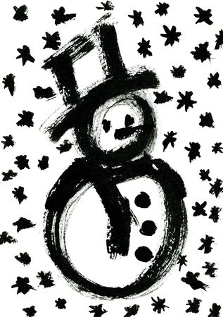 rough draft: Closeup watercolor aquarelle painting rough draft hand drawn silhouette of Christmas New Year Snowman with blots and snowflakes black on white background, vertical picture