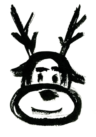 rough draft: Closeup isolated watercolor aquarelle painting rough draft hand drawn silhouette mask of Christmas deer with staghorns black on white background, vertical picture