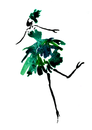 Isolated closeup beautiful vintage watercolor aquarelle painting hand drawn silhouette of dancing party girl wearing green Christmas tree costume on white background, vertical picture