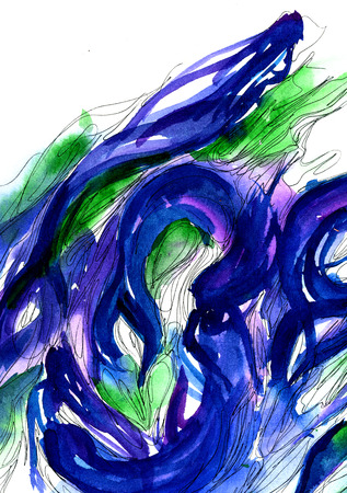 dabs: Modern style abstract beautiful seamaids watercolor aquarelle hand drawn painting turquoise strokes dabs on white background, vertical picture