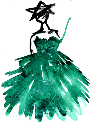 rough draft: Isolated closeup beautiful vintage watercolor aquarelle painting rough draft hand drawn silhouette of party girl wearing green Christmas tree dress with star hat on white background, vertical picture