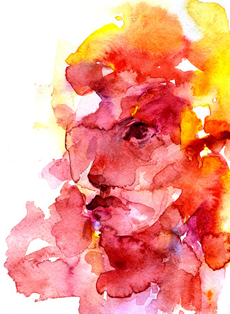 splutter: Modern style abstract beautiful female face watercolor aquarelle hand drawn colorful decor yellow and rose-colored splatter blots and stains on white background, vertical picture