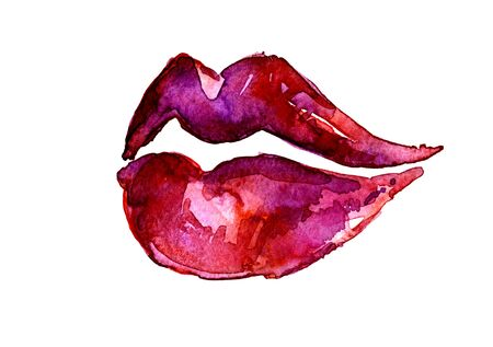 sensual: Isolated closeup beautiful artistic watercolor aquarelle painting rough draft and hand drawn sensual violet magenta lips over white field watercolour background, horizontal picture Stock Photo
