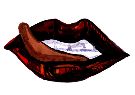 sensual: Isolated closeup beautiful artistic watercolor aquarelle painting rough draft and hand drawn sensual scarlet plush parted lips with teeth and tongue over white field watercolour background, horizontal picture