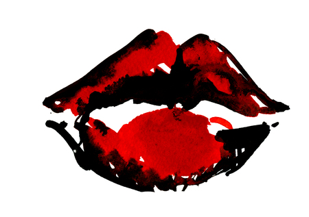 red wallpaper: Isolated closeup beautiful artistic watercolor aquarelle painting rough draft and hand drawn black color plush parted lips with red strokes over white field watercolour background, horizontal picture