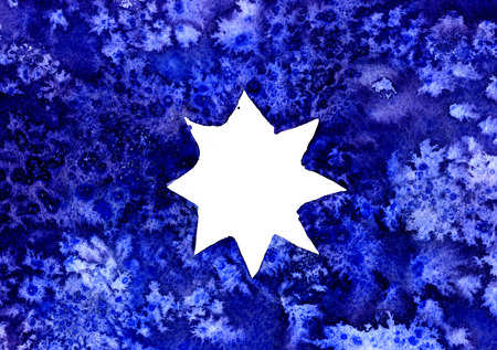 arty: Abstract white star watercolour aquarelle hand drawn wash drawing arty grunge creative blue white splatters blots and blobs paper texture on multicolored background, horizontal picture