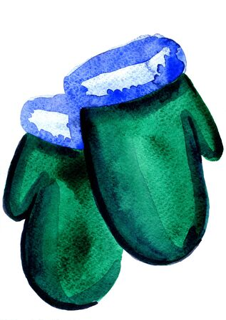 freehand tradition: Isolated closeup watercolor aquarelle painting hand drawn silhouette of pair of soft winter seasonal mittens retro on white background, vertical picture