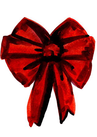 red bow: Isolated closeup watercolor aquarelle painting hand drawn silhouette of elegant Christmas red bow for decoration on white background, vertical picture