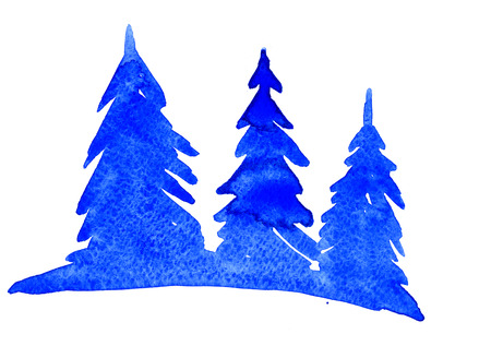 firtrees: Isolated beautiful blue watercolor aquarelle painting hand drawn silhouette illustration of snow winterish wood and fir-trees on white background, horizontal picture