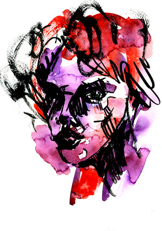 female face closeup: Abstract closeup female face portreit watercolour aquarelle hand drawn colorful decor black strokes violet red blots blobs and stains on white background, vertical picture