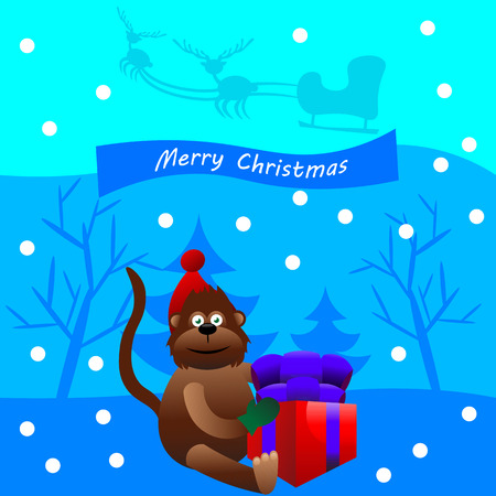 red hat: Beautiful art creative colorful new year winter holiday wallpaper vector illustration greeting card of one brown monkey in red hat holding present box with merry christmas text on blue background