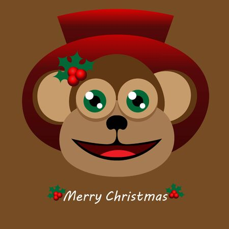 red hat: Beautiful art creative colorful new year winter holiday wallpaper vector illustration greeting card of one monkey in red hat smiling with merry christmas text on brown background