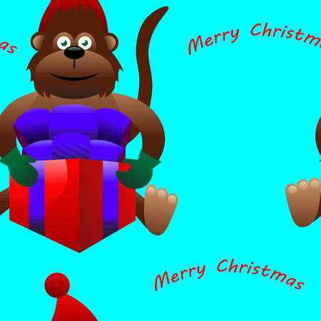 abstract gorilla: Beautiful creative colorful new year winter holiday seamless wallpaper vector greeting illustration of one brown monkey in red hat holding present box with merry christmas text on blue background