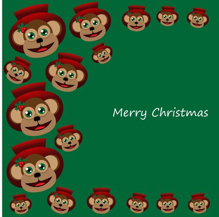 red hat: Beautiful art creative colorful new year winter holiday wallpaper vector illustration greeting card of many brown monkeys in red hat with merry christmas text on green background