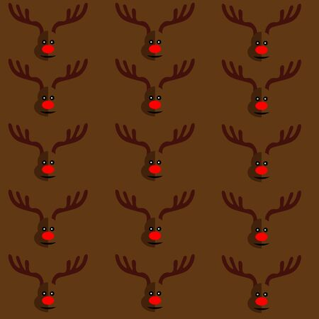 red nose: Art creative colorful new year winter holiday seamless wallpaper vector illustration greeting card of many deers with antlers and red nose on brown background